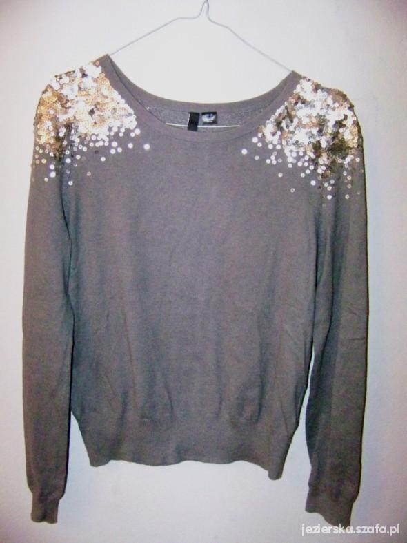 Inteligentny Szary sweter z cekinami H and M w Swetry - Szafa.pl MK53