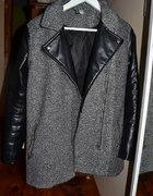 H&M Szary płaszczyk z czarnej eko skóry rękawami M