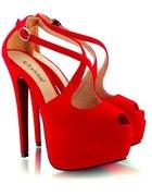 czerwone zamszowe szpilki open toe