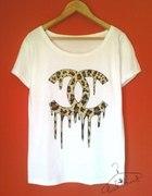 CHANEL FAKE ściekające logo panterkowe bluzka DIY