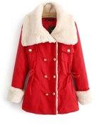 płaszcz czerwony z kożuszkiem