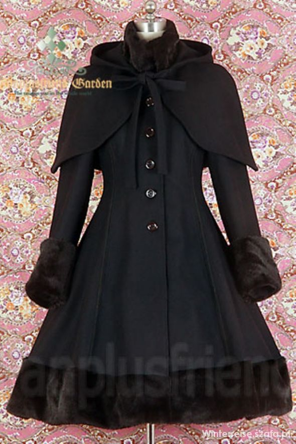 Płaszcz zimowy gothic Dracula Clothing czarny w Odzież