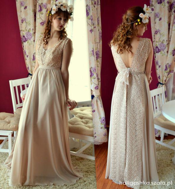Wieczorowe Beżowa sukienka handmade