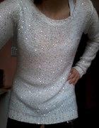 cekinowy sweter biały orsay
