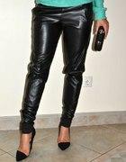 Spodnie skórzane pumpy baggy skóra czarne
