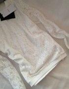 BERSHKA biała koronkowa bluza bluzka koronka