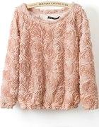 Śliczna bluzka sweter pudrowy haftowane róże 3D