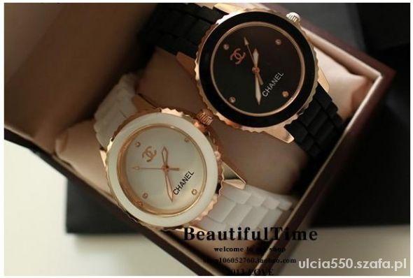 NOWY Duży biały zegarek z logo CHANEL NOWY