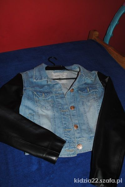 kurteczka jeansowa skórzane rękawy