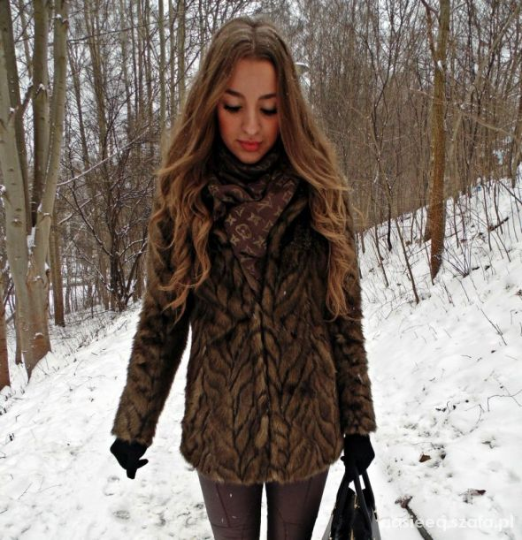 Blogerek Futro brązy zimaaa