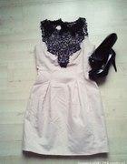 sukienka pudrowa z koronką mohito gratis kolczyki