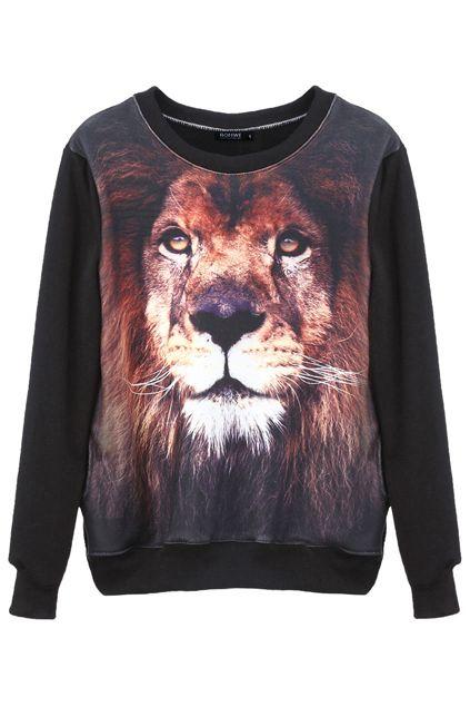 bluza z lwem Romwe LEW ocieplana S M L