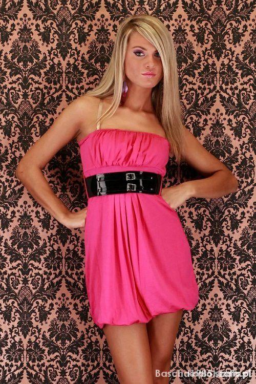 83a8b627be Różowa sukienka tunika z paskiem bombka w Suknie i sukienki - Szafa.pl