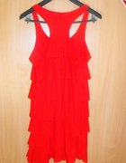 Sukienka tunika czerwona falbanki L