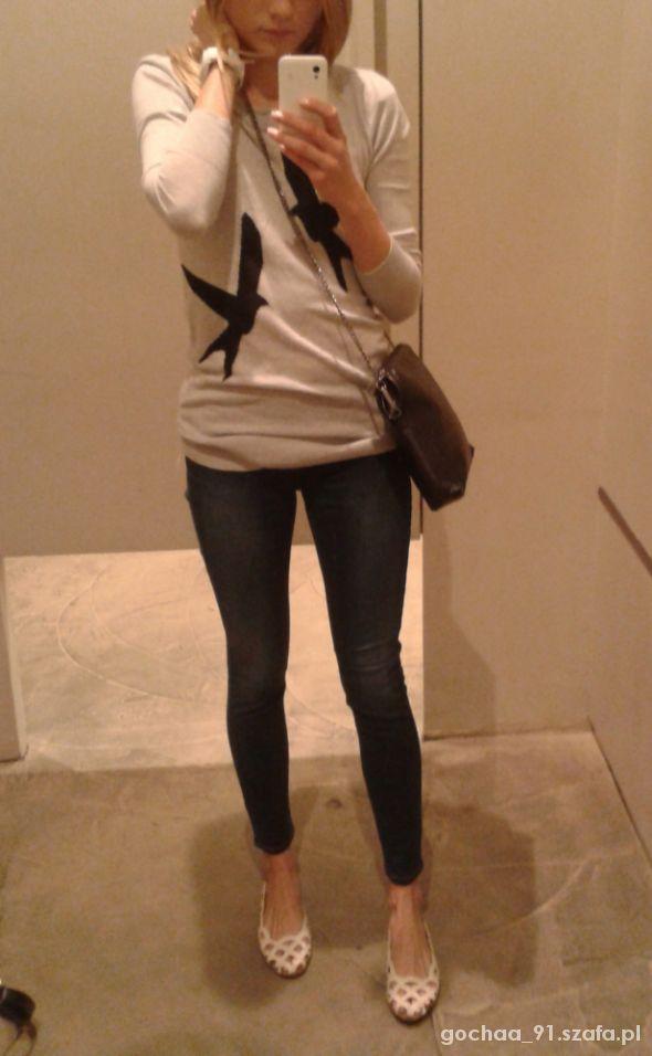 Jeansy sweterek i baletki