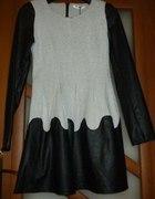 Śliczna Włoska skórzane wstawki sukienka
