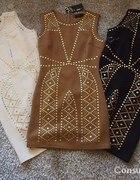 Sukienka dżety karmel