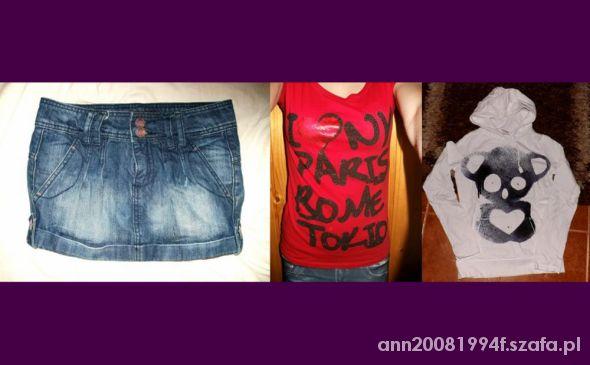 Spódnice Spódniczka jeansowa mini koszulka z napisami