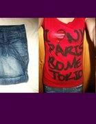 Spódniczka jeansowa mini koszulka z napisami...