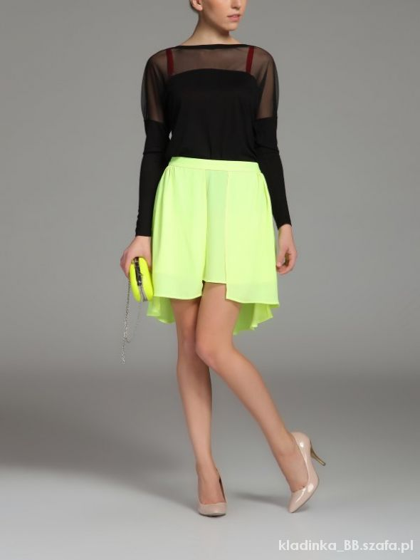 Spódnice Wyprzedaż neonowa żółta spódnica Troll