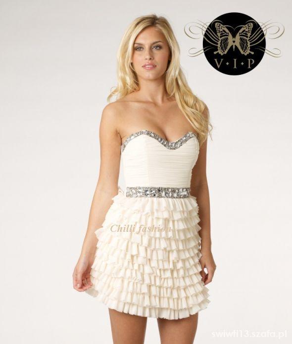 Ubrania sukienka LIPSY VIP z kamieniami kremowa