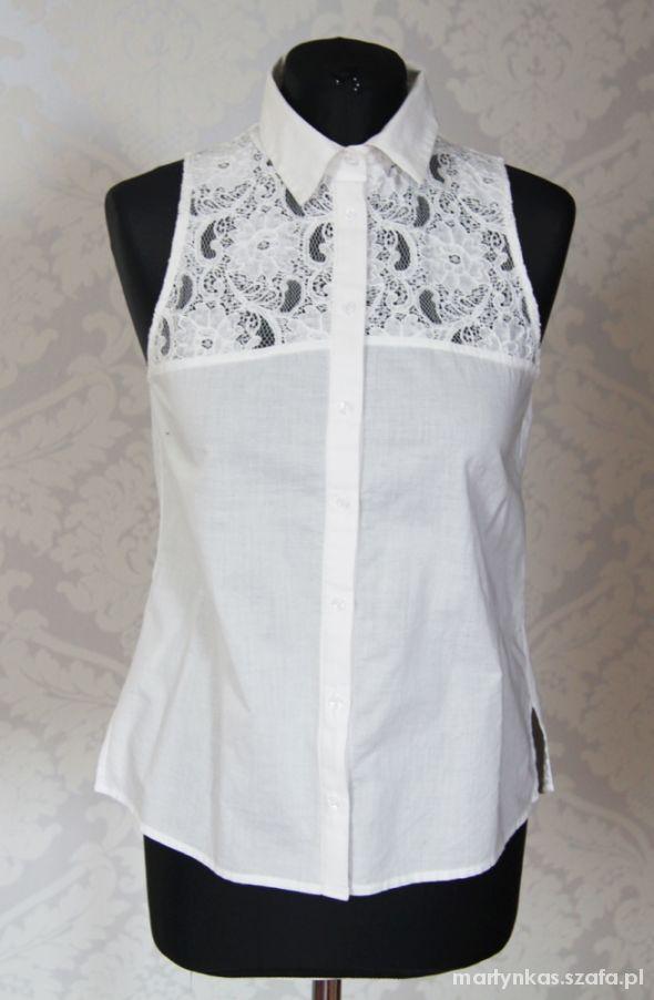 koszula biała z koronką H&M S