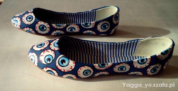 Balerinki Ręcznie malowane balerinki gałki oczne eyeballs