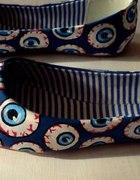 Ręcznie malowane balerinki gałki oczne eyeballs