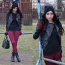 burgundy & black