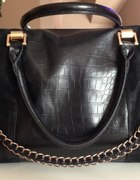 MOHITO czarna torebka kuferek A4 złoty łańcuch