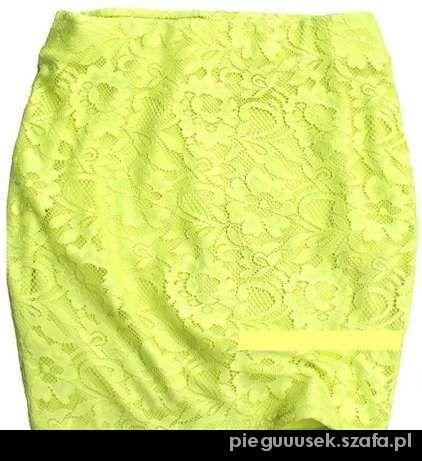 neonowa spódniczka koronka S