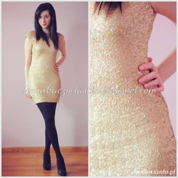 Wieczorowe 3 Złota sukienka z cekinami