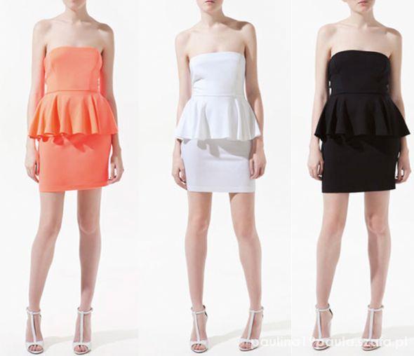 Ubrania sukienka baskinka zara biała lub neonowa