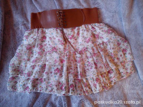 Spódnice kwiatowakolorowa spódniczka z paskiem