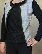 Srebrny sweter koronkowa bluzka