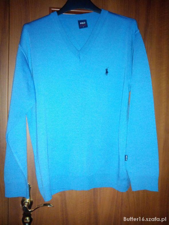 116a0cd68 Sweter Ralph Lauren niebieski serek w Swetry - Szafa.pl