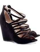 Czarne sandały na koturnie h&m