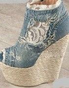 Poszukuję Buty Jeans Korona na Koturnie