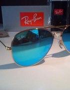 Okulary RAY BAN Aviator 3025 niebieskie blue gold
