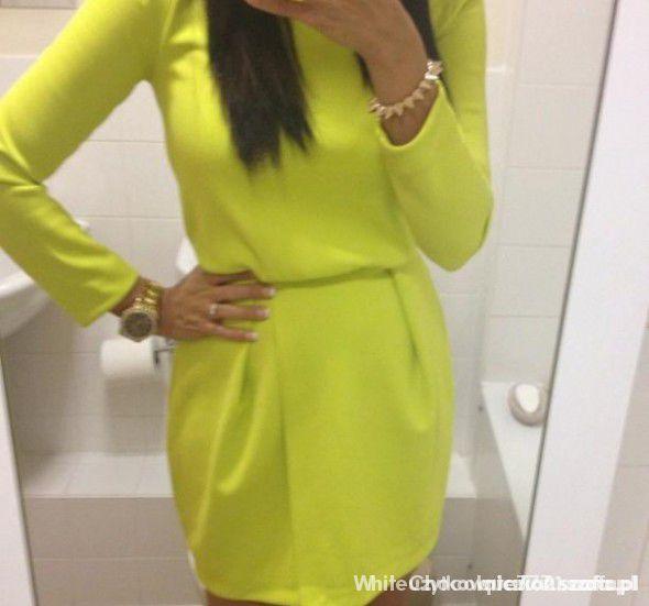 sukienka limonkowa h&m