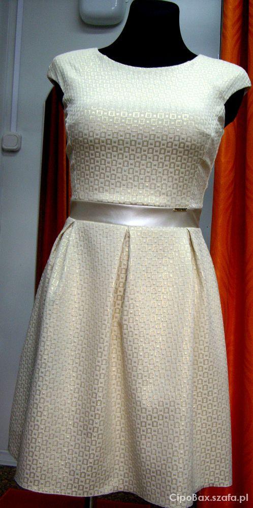 Suknie i sukienki Złota rozkloszowana sukienka