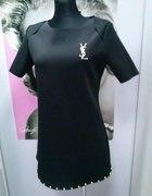 YVES tunika sukienka czarna złote dodatki