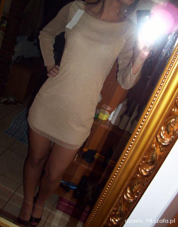 Suknie i sukienki Brokatowa sukienka z siateczką