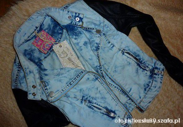 Ubrania Ramoneska katana jeans marmurkowa skóra