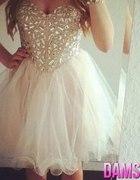 rozkloszowana sukienka kamienie