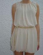 Sukienka Beż Szyfon