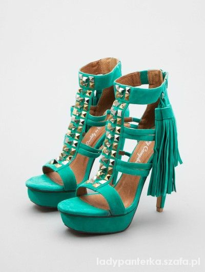 Jeffrey Campbell green suede studded tassel heels...