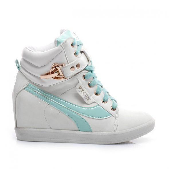 Sneakersy miętowo białe