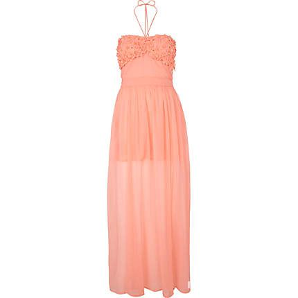 RIVER ISLAND MAXI DRESS MORELOWA kwiatki 3d