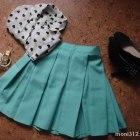 Mint spódniczka rozkloszowana i koszula w serca